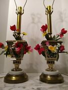 Marble And Metal Pair Of Vintage Lamps W/ Faux Flowers Rewired Cords Sockets