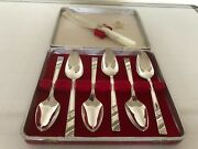Set Of 6 Silver Plated Grapefruit Spoons And A Pearlised Handled Grapefruit Knife