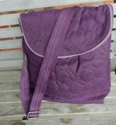 Thirty One Vary You Sling Shoulder Purple Quilted Bookbag Crossbody Backpack Euc