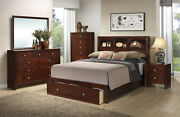 Classic Look Bedroom Furniture Cherry Finish Queen Size Bed W Shelf Hb 4pcs Set