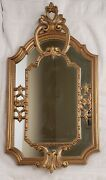 Vintage Ornate Hanging Wall Mirror Gold Tone Carved Italy 23 Tall