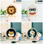 Poke Punch Needle Embroidery Diy Kits New Beginners Lion Dog Duck Crafts Decor