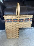 Vintage Country Rustic Wicker Stair Step Basket. Pre-owned, Very Nice Condition.