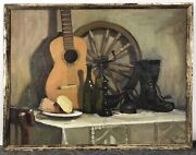 Large Original Oil Painting Menandrsquos Still Life Bottle Guitar And Boots Framed