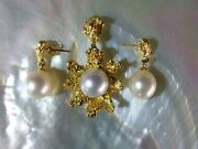 Australian Gold Nugget Jewellery Set With 3 South Sea Pearls Total W 29.5 Grs