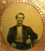 Antique Handsome Well Dressed Young Men Tintype Photo Gutta Percha Union Case 4