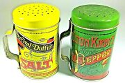 Vintage Salt And Pepper Shakers Decorative Tins Elton Kirbyand039s Percival Duffinand039s
