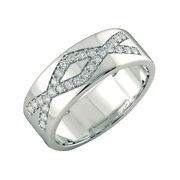 Natural 0.42 Ct Round Cut Diamond Menand039s Engagement Band 14k White Gold Size 9 10