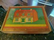 Vintage Play Set Of Wooden Building Blocks In Wood Case Toy Block House