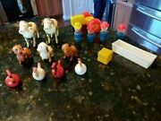 Fisher Price Little People Lot Vtg Farmers Tractor Dogs Chickens Pig Trough Cows