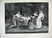 Old Antique Print 1889 Schroder Fine Art Family Dinner Table Wine Table 19th