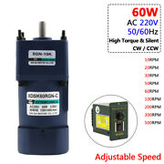 60w Ac 220v Gearmotor High Torque Metal Gearbox Adjustable Speed 10rpm To 500rpm