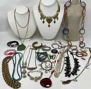Lot Of Vintage Jewelry Ethnic Enamel Beads Wrap Bracelets Necklaces Brooches