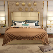 2019 Post-modern Light Luxury Leather Stainless Steel Bed Master Room Double Bed