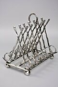 Antique Silver Plate Toast Rack, Hunting Interest, Riding Crop Horseshoe Design