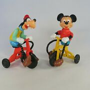 Vintage 1977 Mickey Mouse And Goofy Riding Tricycles W/cord Legs Disney Prod. Toys