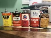 Vintage Collection Handy Oiler Gun Oil Cans Lead Top Lot Of 5 Revelation Outers
