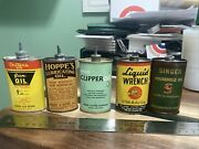 Vintage Collection Handy Oiler Gun Oil Cans Lead Top Lot Of 5 Andis Outers Hoppe