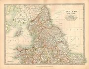 1911 Large Victorian Map England And Wales Northern Sheet York Durham Derby Etc