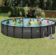 Polygroup Summer Waves Elite 24and039 X 52 Frame Swimming Pool Set