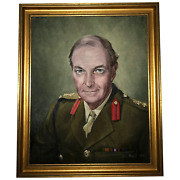 Fine Portrait Oil Painting Military Officer British Army 2nd Signal Regiment