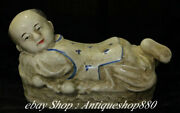 9 Collect Old China Ru Kiln Porcelain Tongzi Boys Pillow Weeping Willow Statue