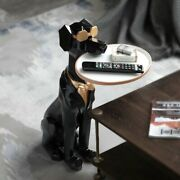 Cute Dog Sculpture With Tray Holder Home Room Decor Modern Art Ornament Statue