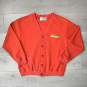Vintage 50s 60s Peanuts Snoopy Cardigan - M Red Button Up Sweater Charlie Brown