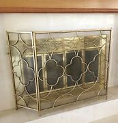 Fireplace Screen Transitional Antique Brass Finish Three-panel 29 T X 49w