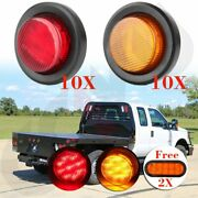 20x 2 Amber Red Clearance Light Trailer Round Side Marker+6and039and039 Stop Tail Light