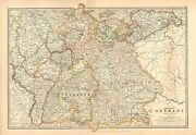1911 Large Victorian Map Empire Of Germany Southern Portion Bavaria Wurtemberg