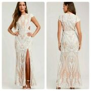 200 Ryse Emily White Nude Sequin Maxi Dress New Wedding Bride Party Cocktail M
