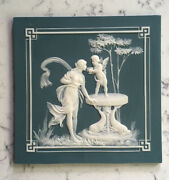 Antique Mettlach Pate-sur-pate Square Plaque 7073 Phanolith Villeroy And Boch