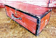 Antique Primitive Hand Made Wood Wooden Candle Storage Box Red Paint Ovr Mustard