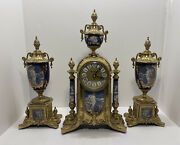 Vintage Ornate Imperial Italian Mantle 3 Piece Brass And Porcelain Clock Set