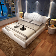 European Leather Wedding Master Bed Luxury Solid Wood Bed Simple Princess Bed 2