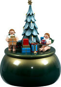 Music Box Angel On The Christmas Tree Green Gold D=5 7/8in New Game Clock