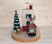 Smoking Moose At Smoking Oven Carved 3 1/2in Colourful Christmas Figures New