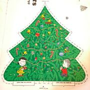 Vintage Peanuts Snoopy Fabric Panel 3d Christmas Tree 35 X 46 Cut And Sew
