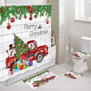 Red Christmas Snowman Truck Shower Curtain Toilet Cover Rug Contour Rug