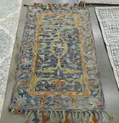 Blue / Rust 3and039 X 5and039 Back Stain Rug Reduced Price 1172624015 Apn116m-3