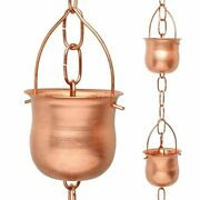 Marrgon Copper Rain Chain – Decorative Chimes And Cups Replace Gutter Downspout