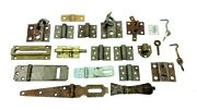 Mixed Vintage Lot Used Metal Door Hinges Straps Latches Bolt Locks Hardware