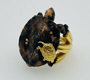Trifari Diane Love Vintage Yellow Gold Plated And Copper Mixed Metal Turtle Ring