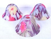 Pendant Glass Hawaiian Floral Pattern Bell Glass Shade Made In Italy Lot Of 3