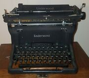 Vintage 30and039s Or 50and039s Black Metal Underwood Manual Typewriter W/ New Ribbon