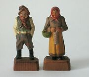 Antique Folk Art Wood Carvings Of A Man And Woman In Great Details.