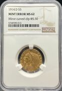 1914-d 5 Indian Ms62 Ngc Mint Error Minor Curved Clip @ 530 Pa5748989013