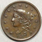 1837 Coronet Head Large Cent Medium Letters Choice Almost Uncirculated 1214-05