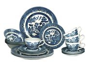 Churchill Blue Willow Plates Bowls Cups 20 Piece Dinner Set Made In England